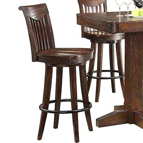 E.C.I. Furniture Gettysburg Counter Height Swivel Bar Stool w/ Sculpted Seats