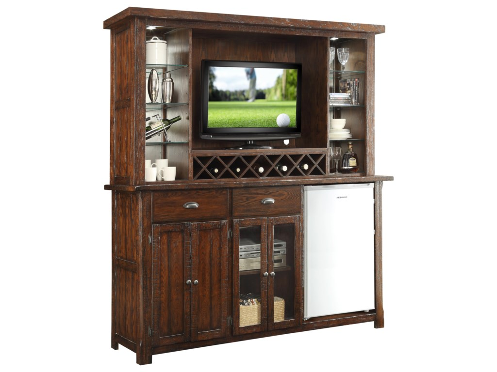 Gettysburg Bar Cabinet With Built In Wine Rack By E C I Furniture