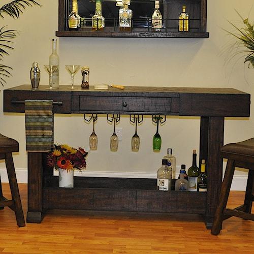 E.C.I. Furniture Gettysburg Open Island Bar with Hanging Stemware Rack