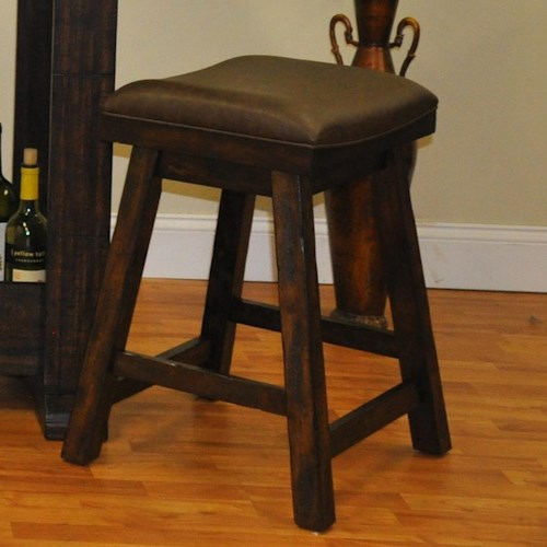 E.C.I. Furniture Gettysburg Counter Height Saddle Stool with Bonded Leather Seat