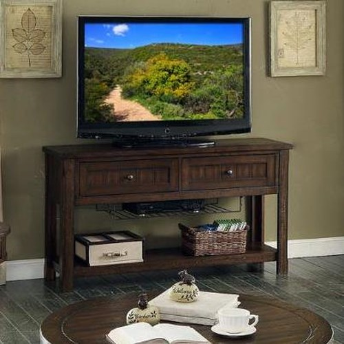 E.C.I. Furniture Gettysburg Sofa Table/Entertainment Center with Wire Tray