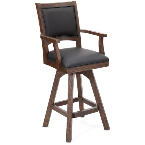E.C.I. Furniture Guinness Bar Swivel Arm Bar Stool with Leather Seat and Back