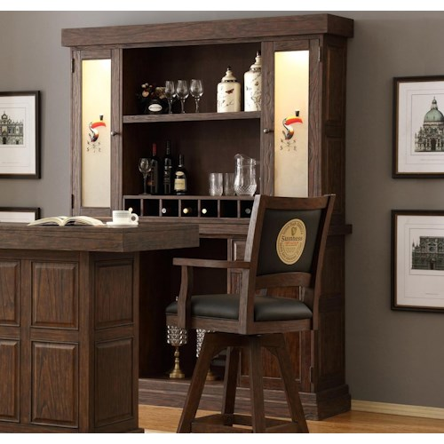 E.C.I. Furniture Guinness Bar Back Bar and Hutch with Vented Area for Mini Fridge