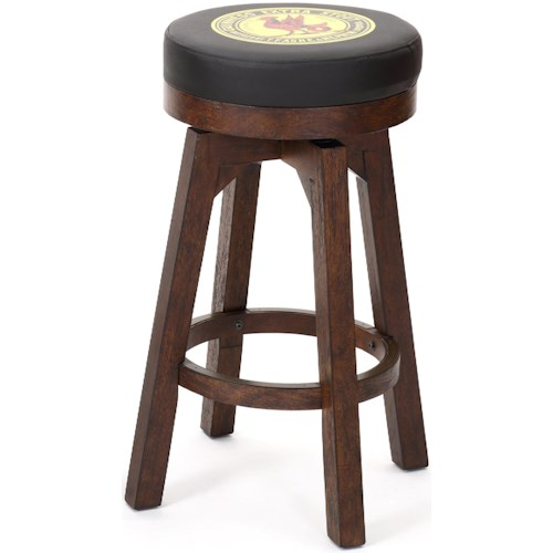 E.C.I. Furniture Guinness Bar Leather Round Swivel Bar Stool