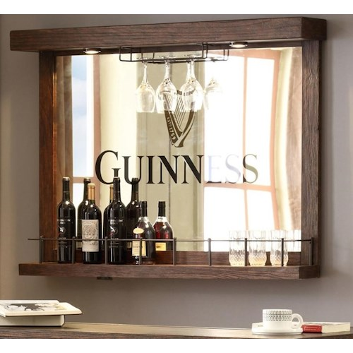E.C.I. Furniture Guinness Bar Back Bar Mirror and Stemware Holder