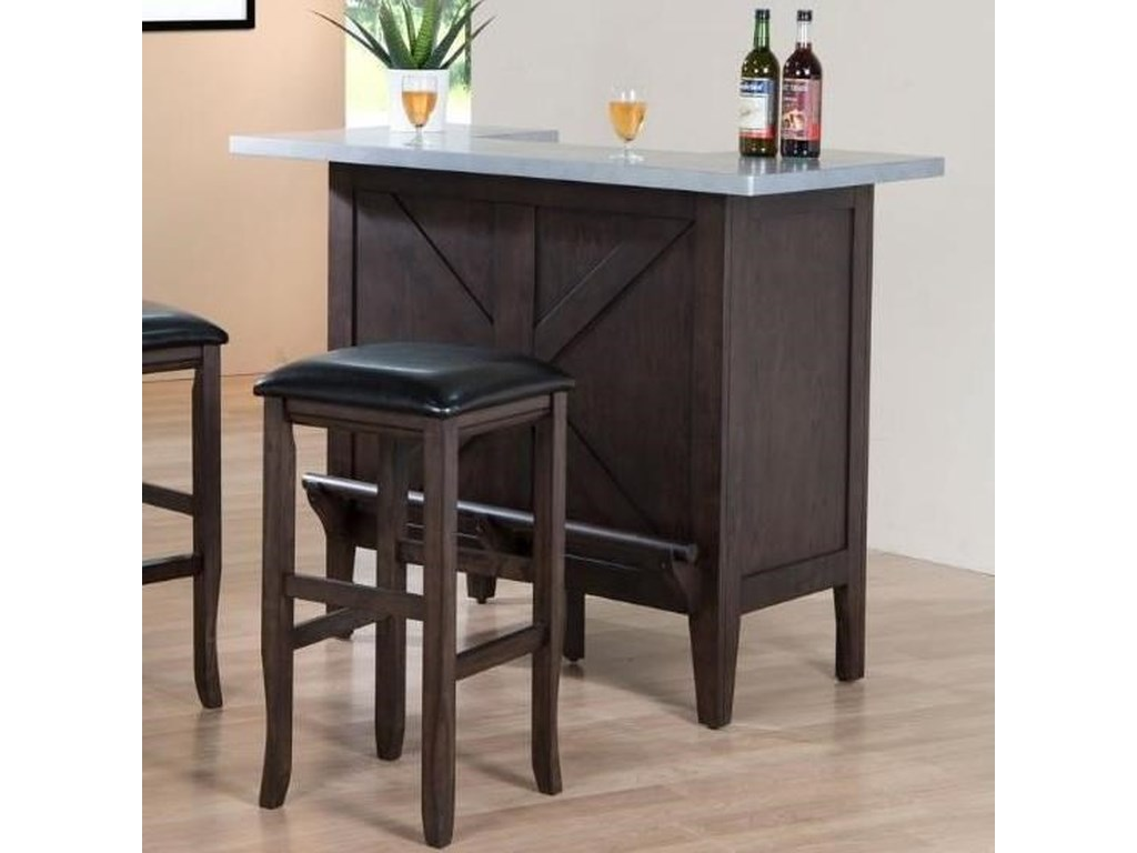 E.C.I. Furniture HamiltonFaux Zinc Top Bar