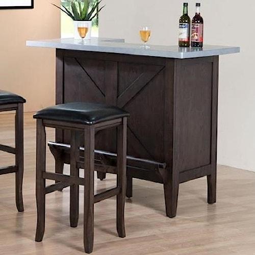 E.C.I. Furniture Hamilton Faux Zinc Top Bar