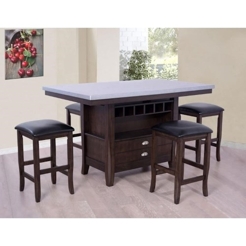 E.C.I. Furniture Hamilton Counter Height Kitchen Island with Faux Zinc Top