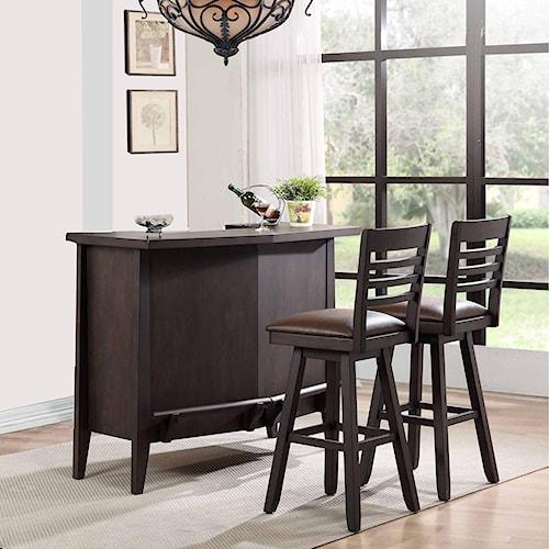 E.C.I. Furniture Lexington Serving Bar Set with Swivel Stools