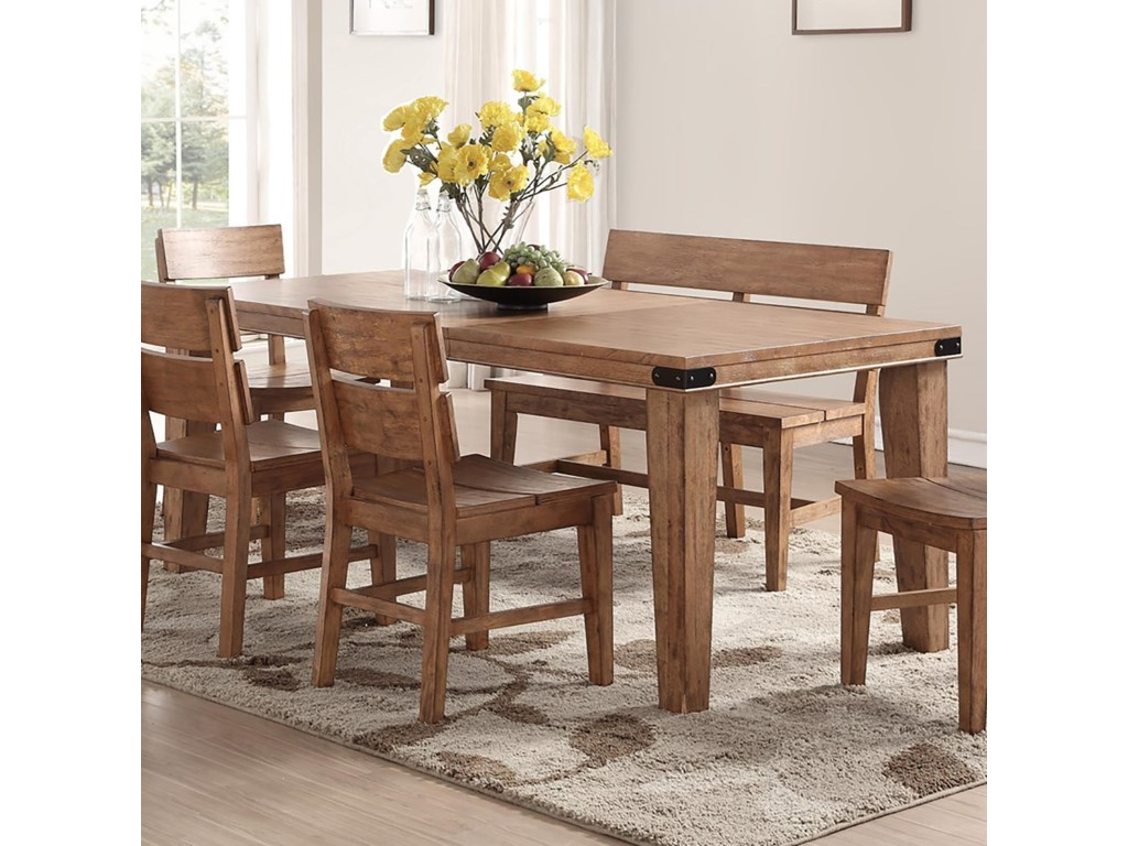 E c i furniture shenandoah 0515 88 t rectangular dining table with metal accents dunk bright furniture dining tables