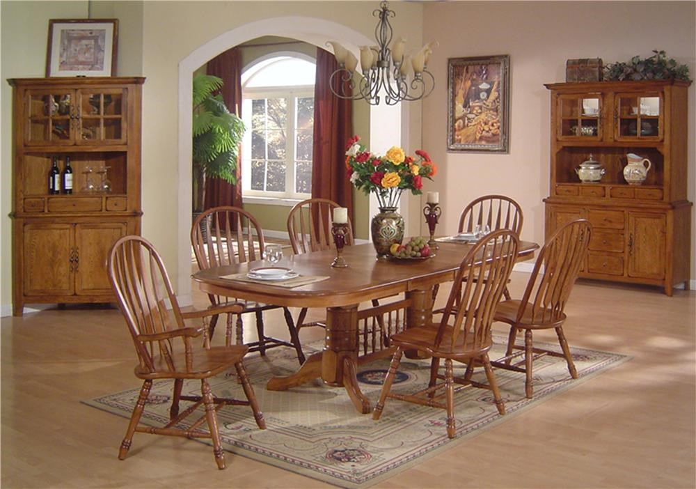 E.C.I. Furniture Solid Oak Dining Solid Oak Dining Table U0026 Arrowback Chair  Set