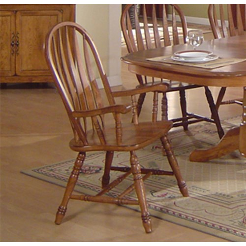 E C I Furniture Solid Oak Dining Arrowback Arm Chair