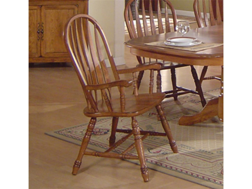 ECI Furniture Solid Oak Dining 7000 03 A Arrowback Arm Chair