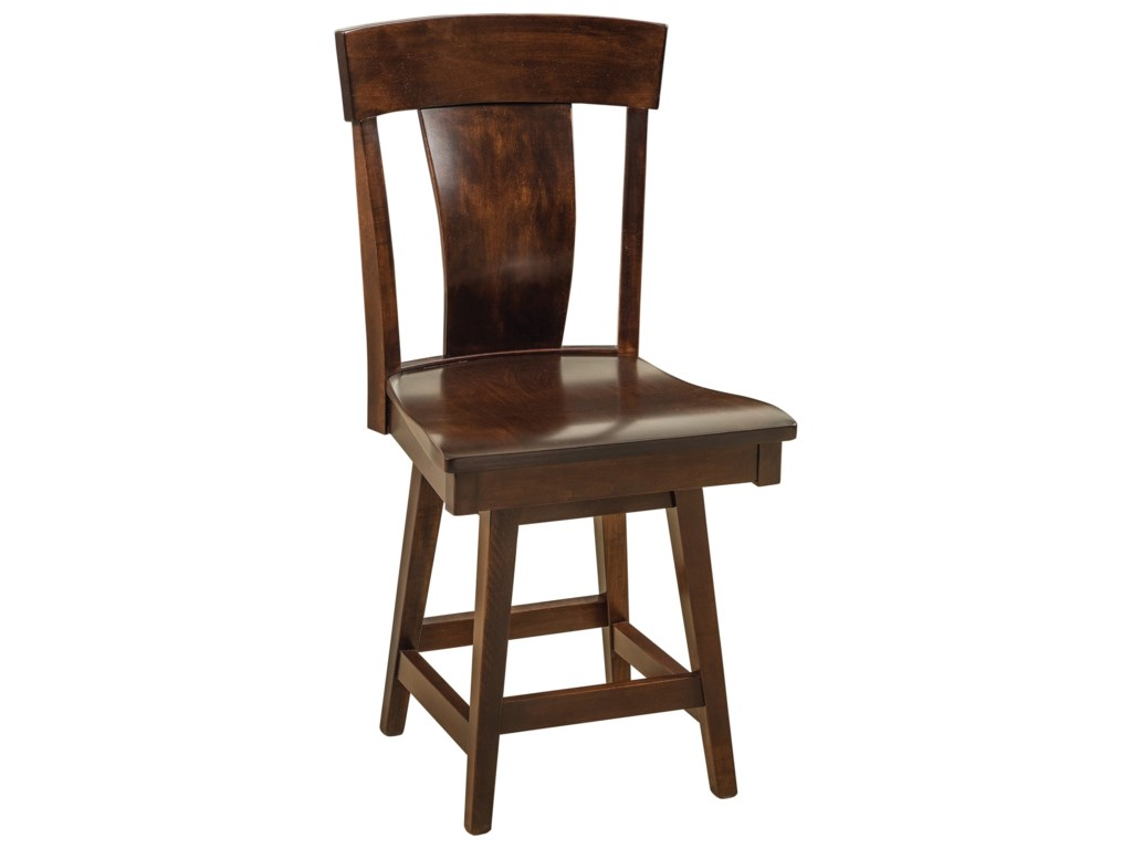 F&N Woodworking BaldwinSwivel Bar Stool - Wood Seat