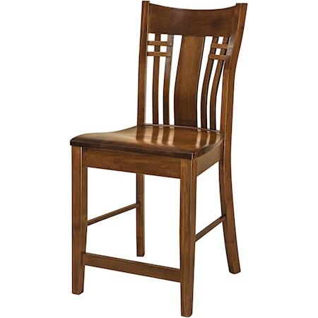 Stationary Bar Stool - Leather Seat