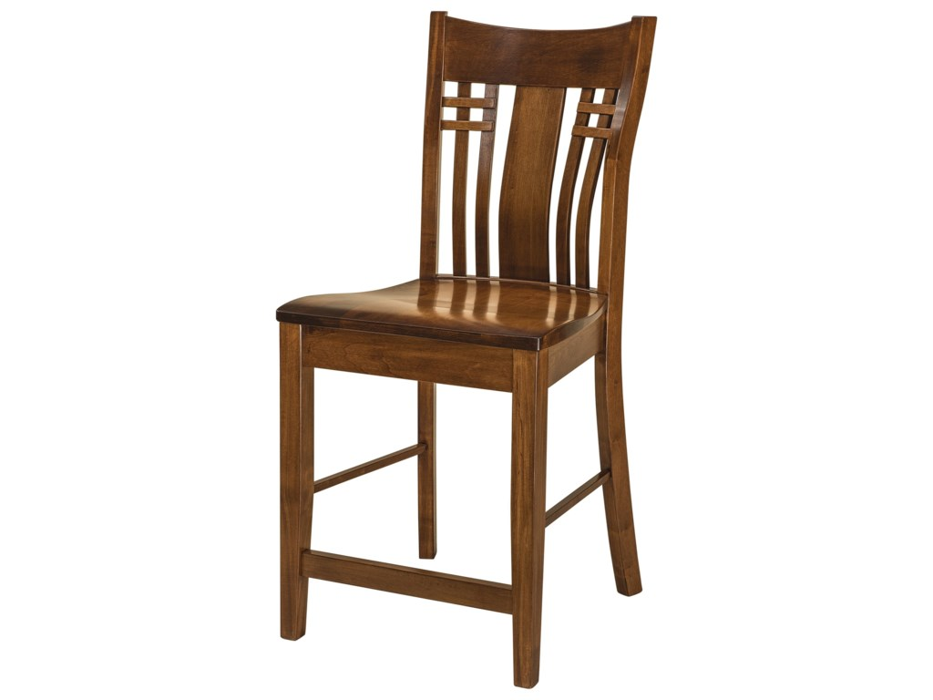 F&N Woodworking BennetStationary Bar Stool - Leather Seat