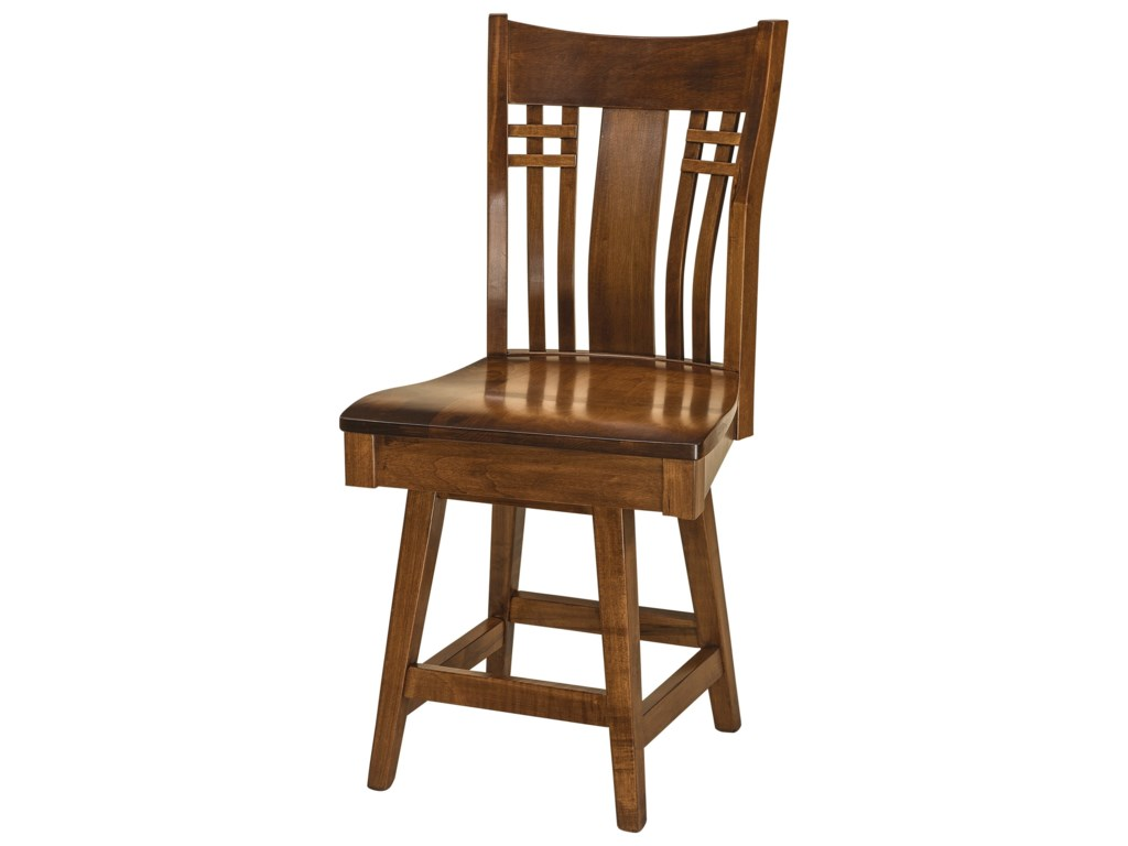 F&N Woodworking BennetSwivel Counter Height Stool - Wood Seat