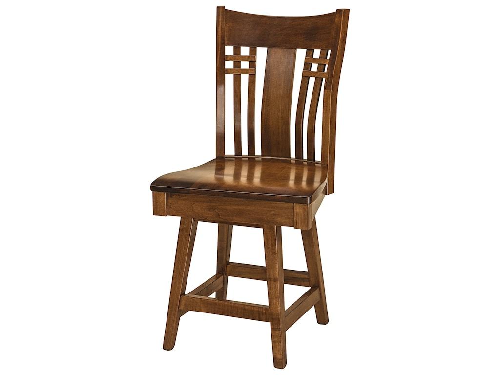 F&N Woodworking BennetSwivel Bar Stool - Fabric Seat
