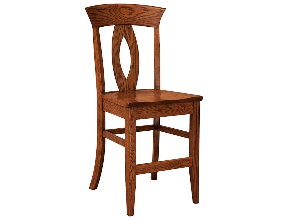 F&N Woodworking BrookfieldStationary Bar Stool - Leather Seat