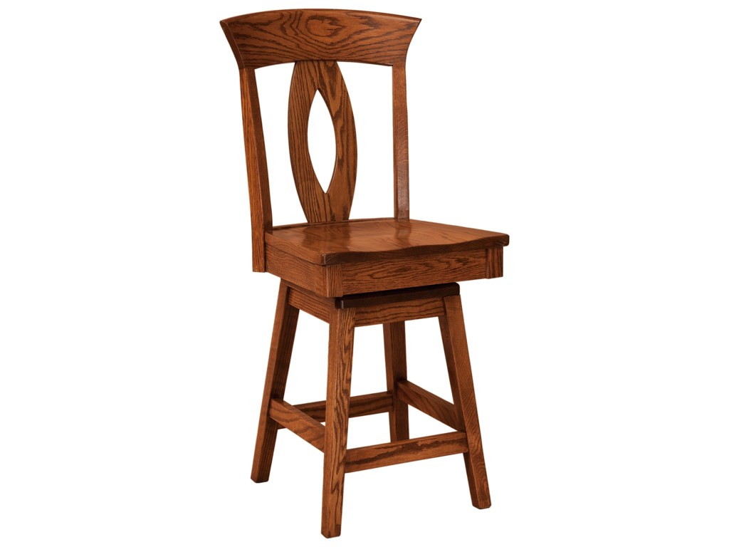 F&N Woodworking BrookfieldSwivel Bar Stool - Leather Seat