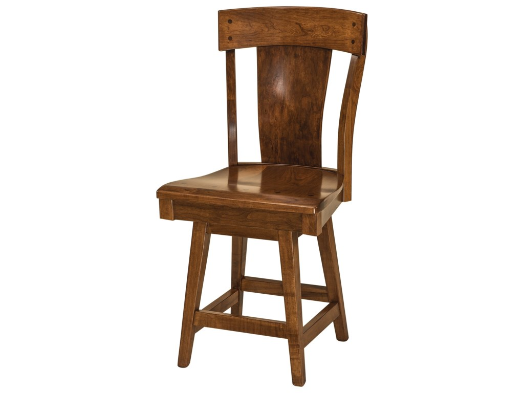 F&N Woodworking LacombeSwivel Bar Height Stool - Wood Seat