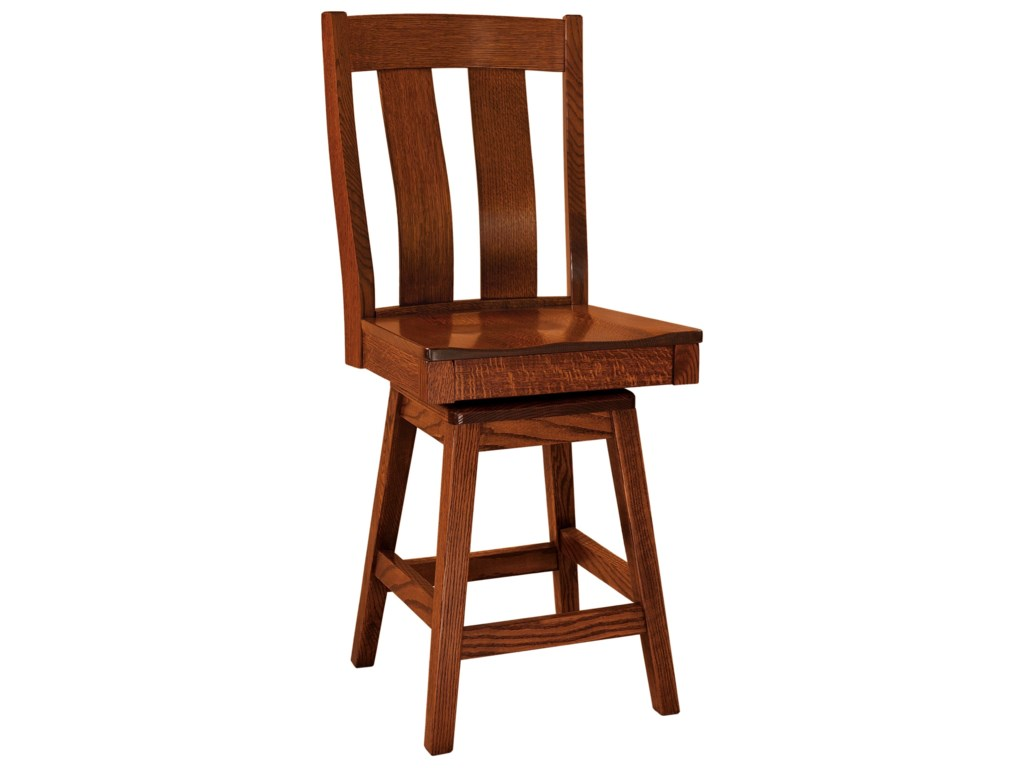 F N Woodworking Laurie Swivel Bar Stool Fabric Seat
