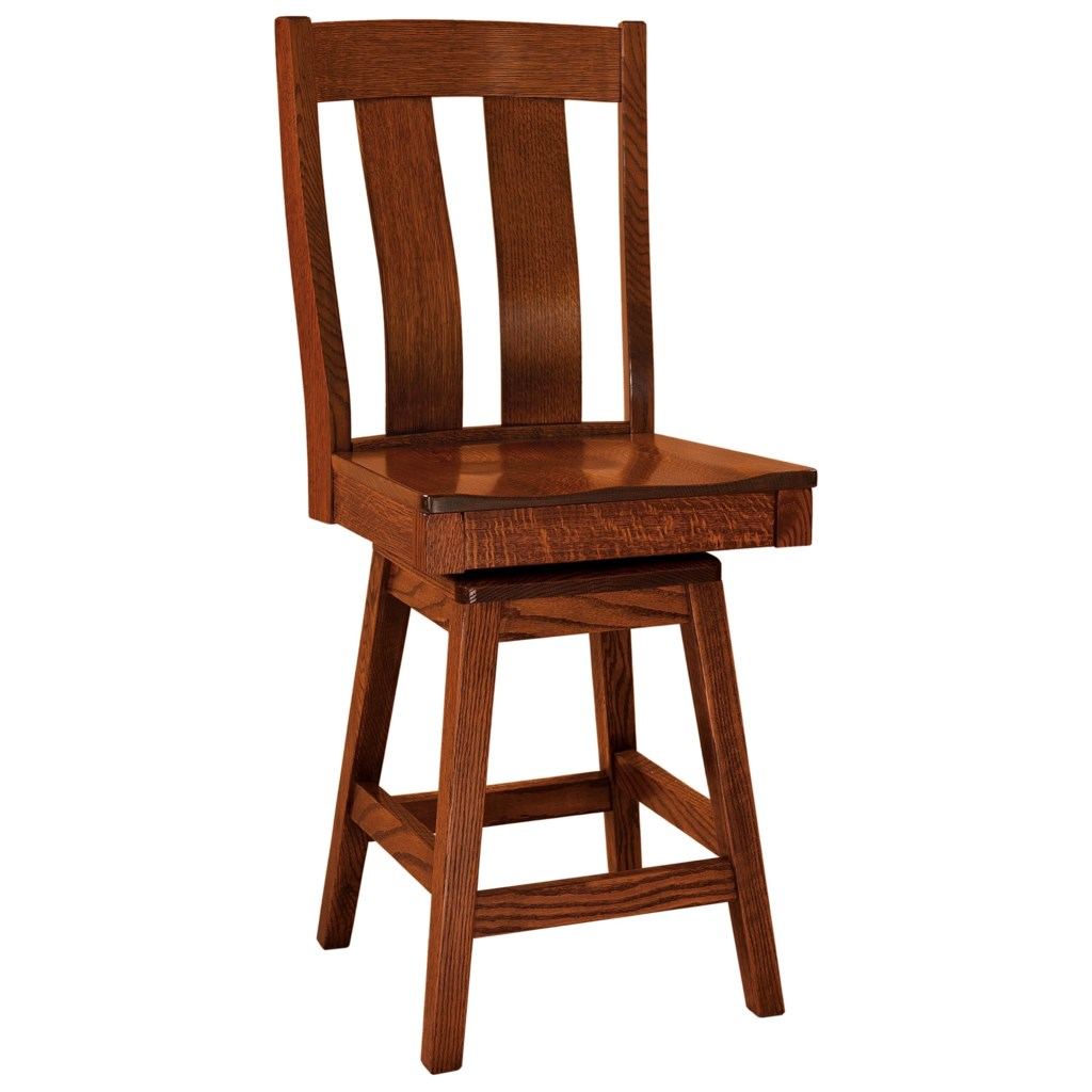FN Woodworking Laurie Swivel Bar Stool Leather Seat