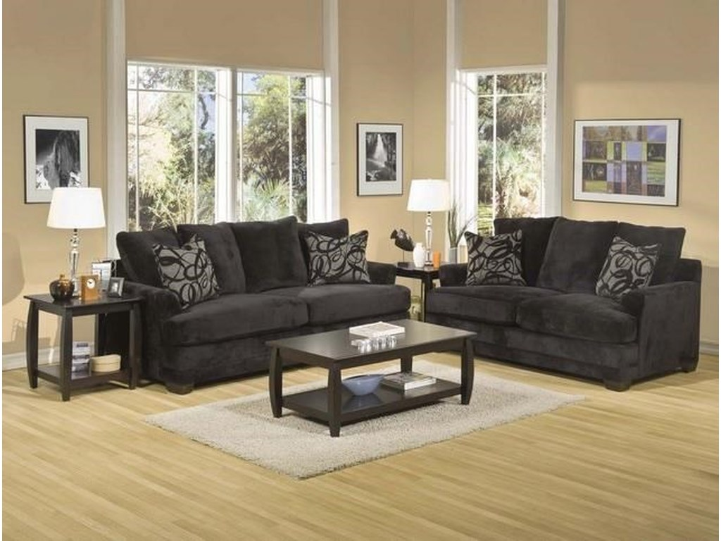 EJ Lauren BarkleyBlack Upholstered Sofa with Accent Pillows
