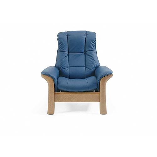 Stressless by Ekornes Stressless Windsor Highback Reclining Leather Chair