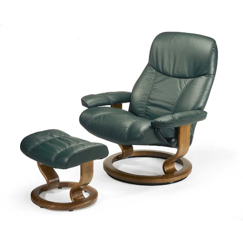 Stressless by Ekornes Stressless Recliners Consul Large Reclining Chair and Ottoman