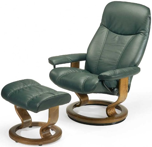 Stressless by Ekornes Stressless Recliners Consul Medium Reclining Chair and Ottoman
