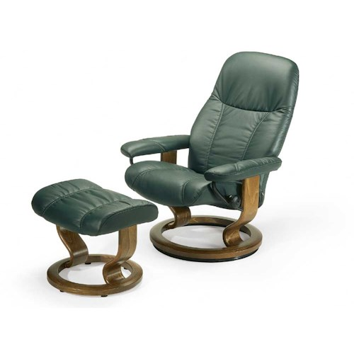 Stressless by Ekornes Stressless Recliners Consul Small Reclining Chair  and Ottoman