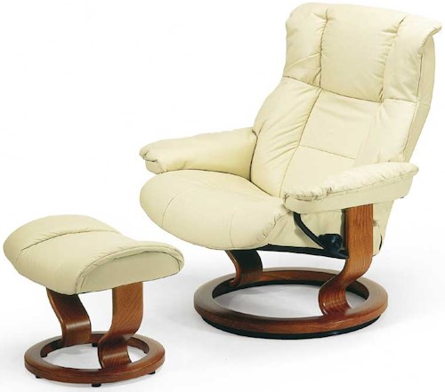 Stressless Mayfair Large Reclining Chair & Ottoman with Classic Base