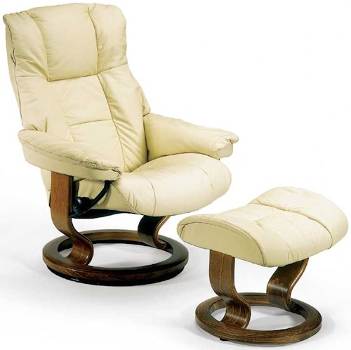Stressless Mayfair Small Reclining Chair & Ottoman with Classic Base