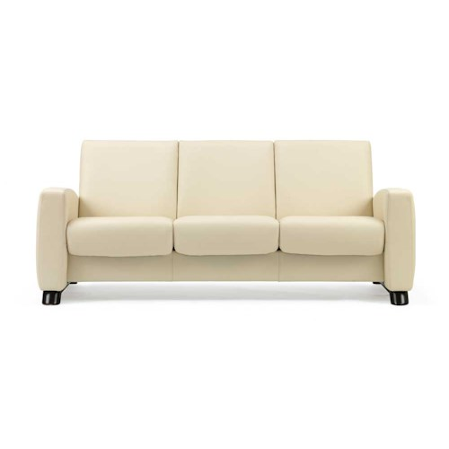 Stressless by Ekornes Stressless Arion Low Back Reclining 3 Seat Leather Sofa