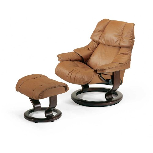 Stressless by Ekornes Stressless Recliners Reno Large Reclining Chair and Ottoman