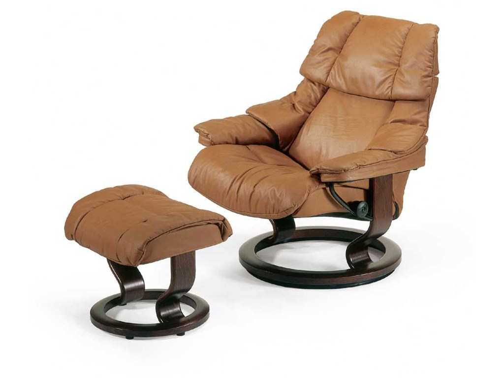 Stressless Reno 1164015 Large Reclining Chair Ottoman With Classic