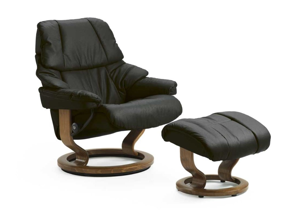 Stressless RenoLarge Chair & Ottoman with Classic Base
