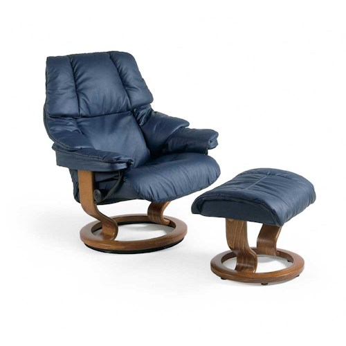Stressless by Ekornes Stressless Recliners Reno Medium Reclining Chair and Ottoman