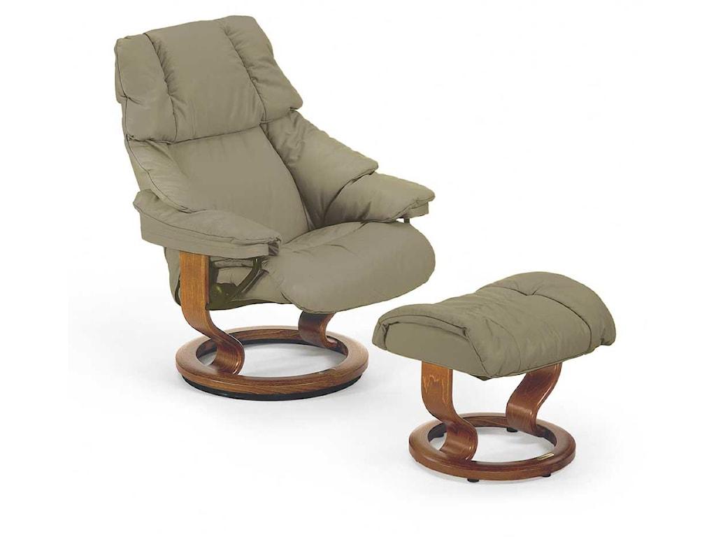 Stressless RenoMedium Chair & Ottoman with Classic Base