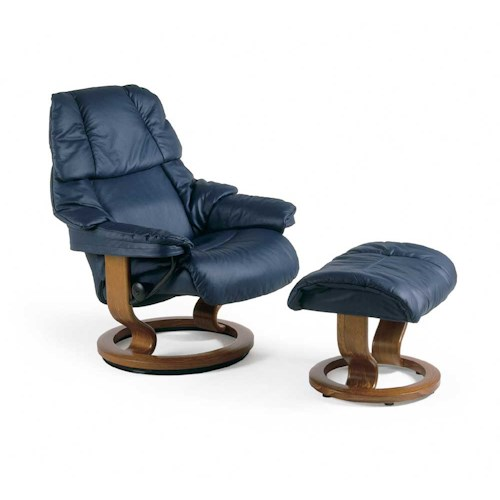 Stressless by Ekornes Stressless Recliners Reno Small Reclining Chair and Ottoman