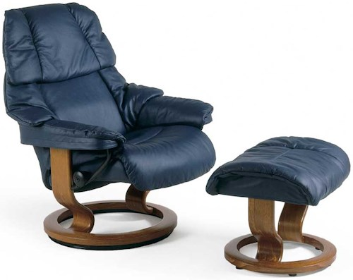 Stressless Reno Small Reclining Chair & Ottoman with Classic Base