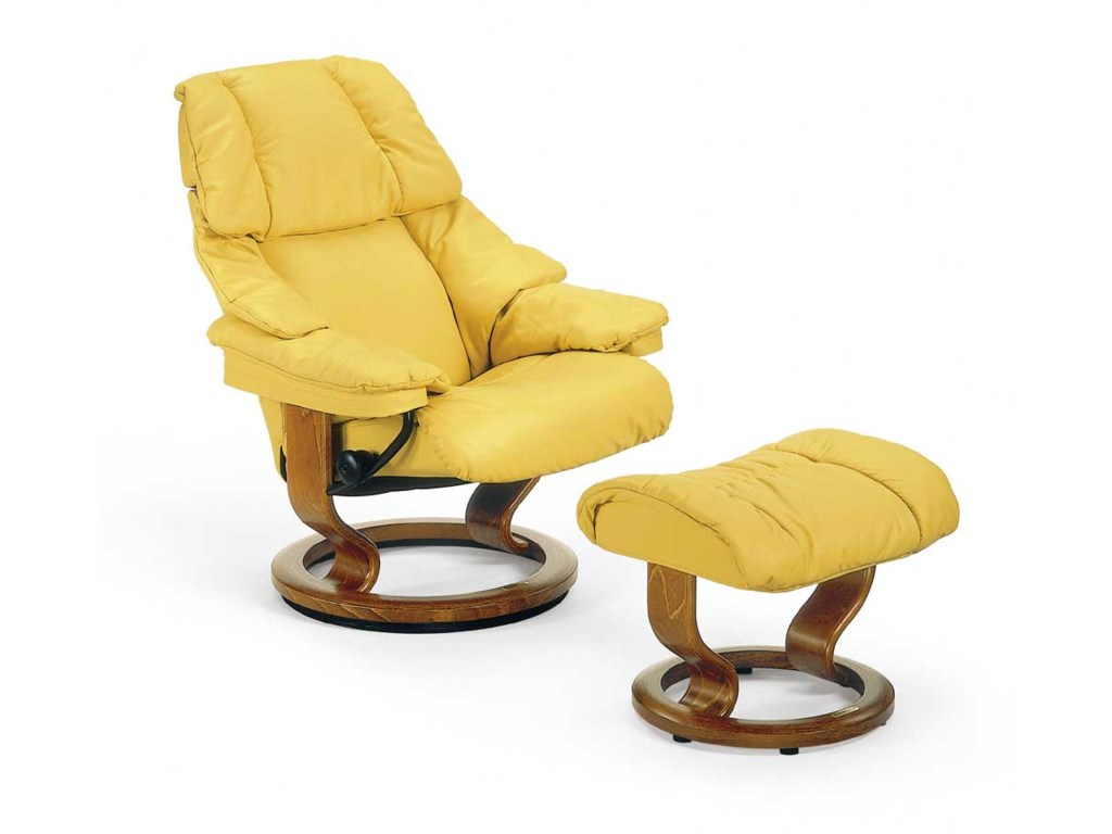 Stressless RenoSmall Chair & Ottoman with Classic Base
