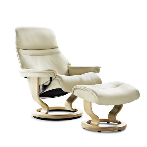 Stressless by Ekornes Stressless Recliners Large Sunrise Reclining Chair and Ottoman