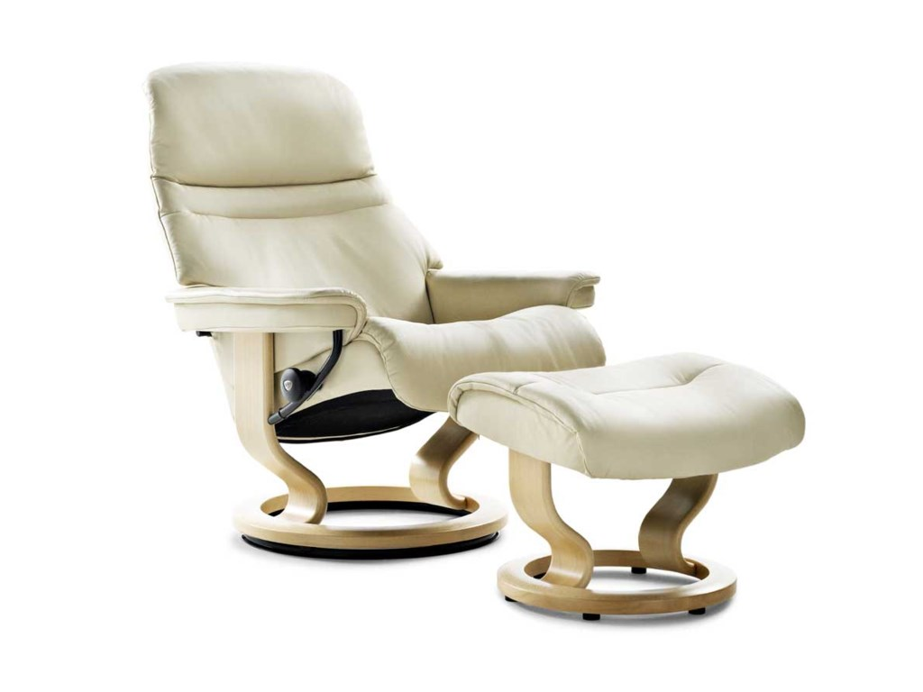 Stressless SunriseLarge Chair & Ottoman with Classic Base