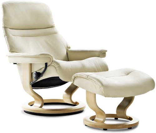 Stressless Sunrise Large Reclining Chair & Ottoman with Classic Base