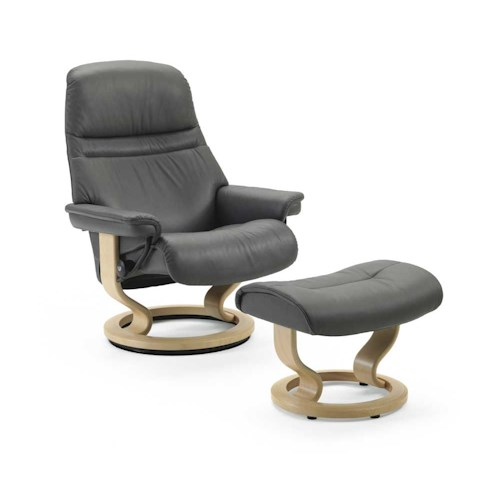 Stressless by Ekornes Stressless Recliners Small Sunrise Reclining Chair and Ottoman