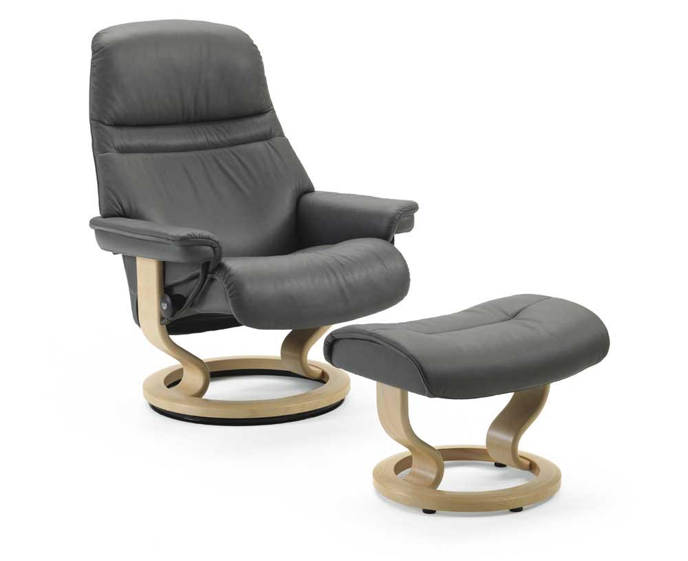 Stressless SunriseMedium Chair U0026 Ottoman With Classic Base ...