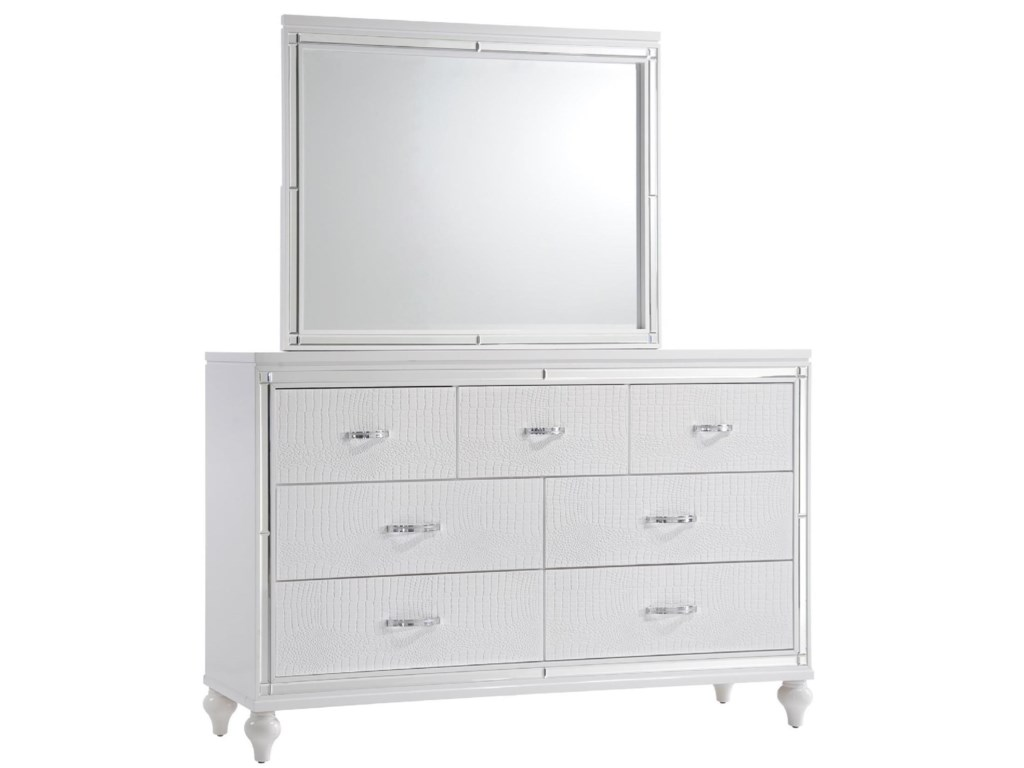 Elements International  MiamiDresser and Mirror Set
