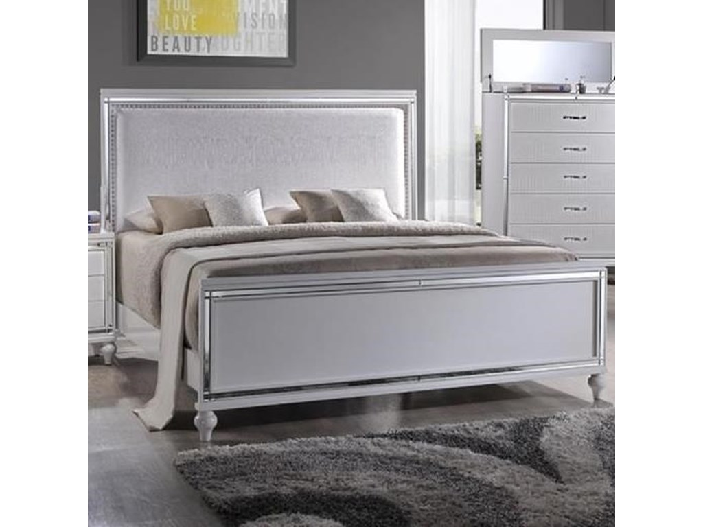 Elements International  MiamiQueen Upholstered Bed